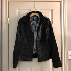 Black Textured Guess Moto Faux Leather Jacket